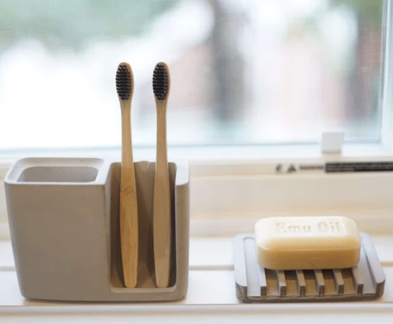 Composition of bamboo toothbrush