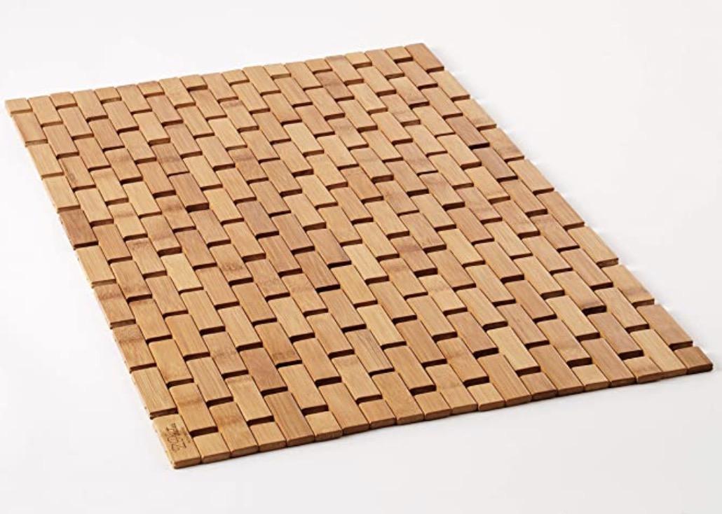 Zpirates Natural Bamboo Wood Bath Mat
