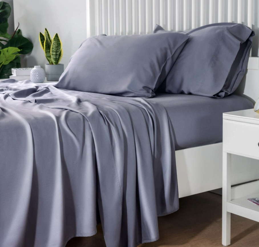 Bedsure 100% Bamboo Sheets Set Queen Grey - Deepest Pocket