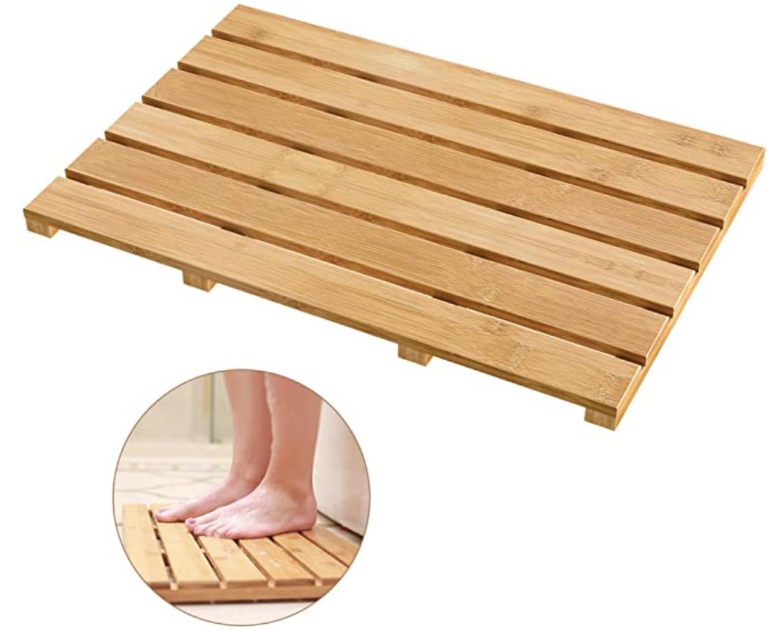 Bamfan Non-Slip Bamboo Sturdy Water-proof Bath Mat