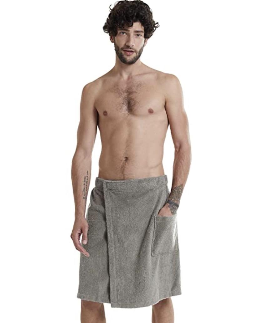 SIORO Mens Towel Wrap Spa Bath Robe Bamboo Cotton